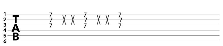 TAB譜のブラッシングの記号
