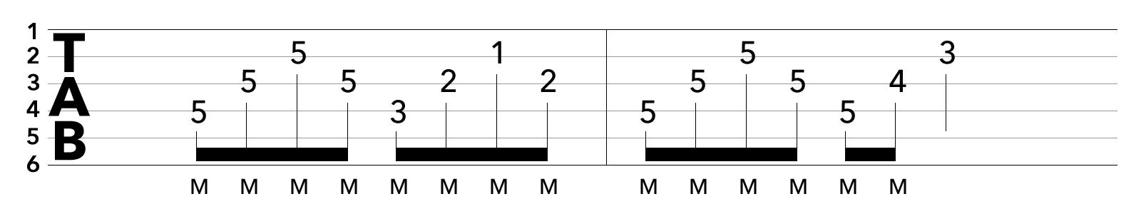 tab譜ブリッジミュートを使ったアルペジオの課題練習フレーズ1/2