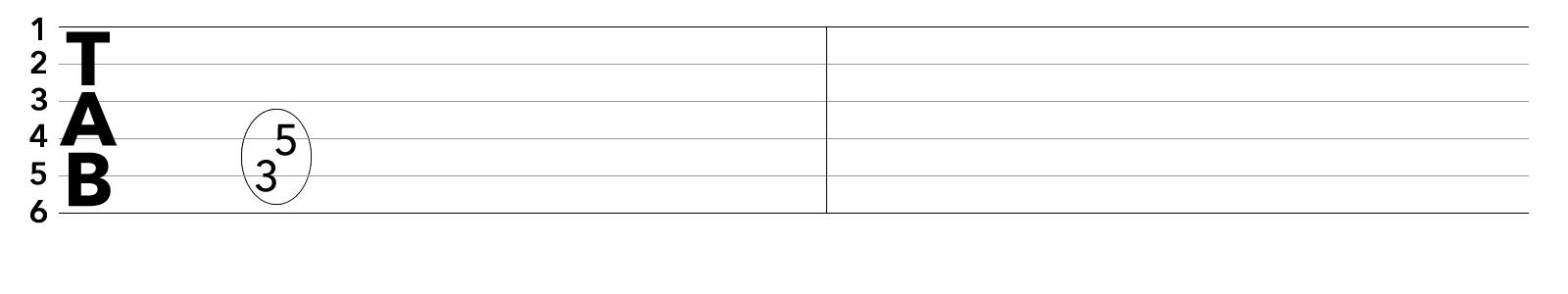 TAB譜:コードチェンジを伴うブリッジミュートの課題練習フレーズ1-2